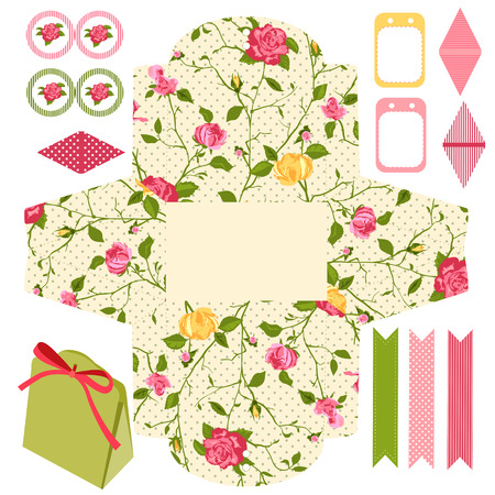 wedding favor: Party set. Gift box template.  Abstract floral shabby chic pattern, classic country roses. Empty labels and cupcake toppers and food tags.  Illustration