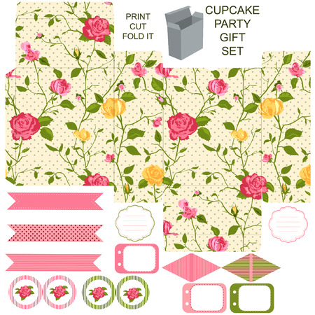 dieline: Party set. Gift box template.  Abstract floral shabby chic pattern, classic country roses. Empty labels and cupcake toppers and food tags.  Illustration