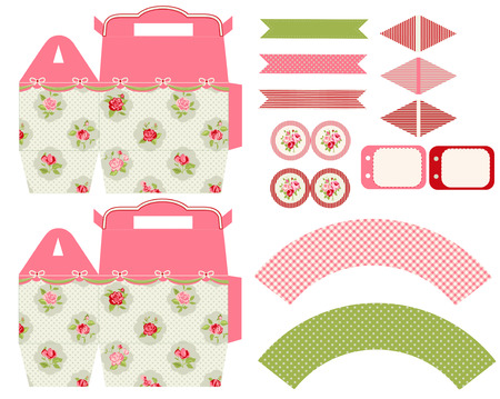 topper: Party set. Gift box template.  Abstract floral shabby chic pattern, classic country roses. Empty labels and cupcake toppers and food tags.  Illustration