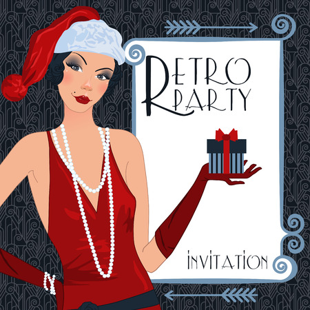 new year party: Retro background with flapper girl,  retro Christmas or New Year party invitation design in 20s style