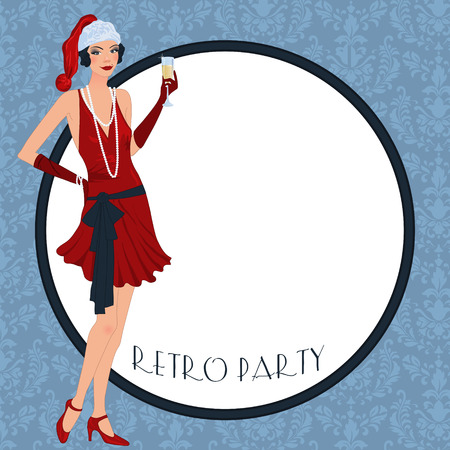 30s: Retro background with flapper girl,  retro Christmas or New Year party invitation design in 20s style