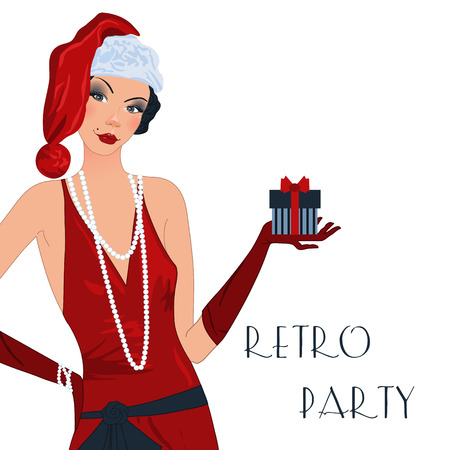 decade: Retro background with flapper girl,  retro Christmas or New Year party invitation design in 20s style