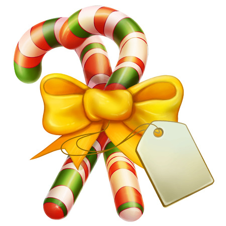 christmas symbol: Two Christmas Candy Cane with Bowand blank label. Christmas Icon Symbol