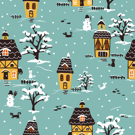 Christmas pattern. Winter village scene with houses, pets and snow.  Ideal for printing onto fabric and paper or scrap booking. Cottage style. Hand drawn illustration.