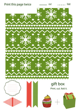 favor: Favor, gift, product box die cut.  Christmas festive pattern. Empty label. Designer template.