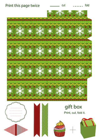 Favor, gift, product box die cut.  Christmas festive pattern. Empty label. Designer template. Vector