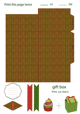 die cut: Favor, gift, product box die cut.  Christmas knitted festive pattern. Empty label. Designer template.