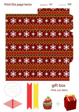 Favor, gift, product box die cut.  Christmas knitted festive pattern. Empty label. Designer template. Vector