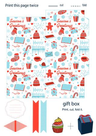 Favor, gift, product box die cut.  Christmas festive pattern. Empty label. Designer template.