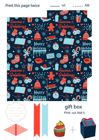 dieline: Favor, gift, product box die cut.  Christmas festive pattern. Empty label. Designer template.