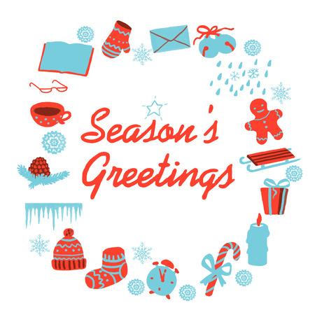 seasons greetings: Seasons greetings card with christmas clip art. Isolated illustration.
