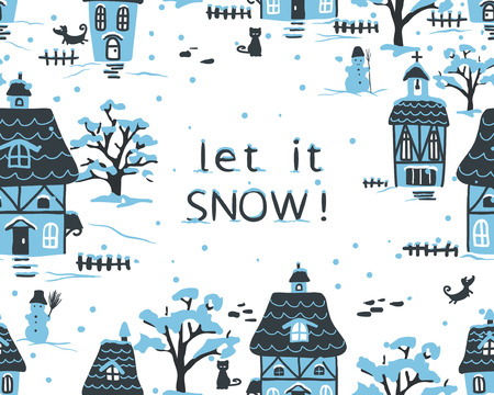 winter scene: Christmas winter village scene with houses, pets and snow.  Cottage style. Hand drawn illustration.