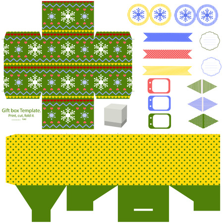 dieline: Favor, gift, product box die cut.  Christmas festive pattern. Empty label and party decoration items. Designer template.
