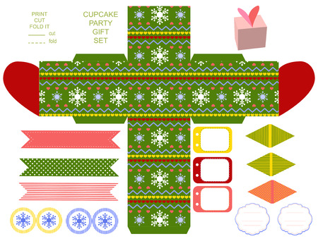favor: Favor, gift, product box die cut.  Christmas festive pattern. Empty label and party decoration items. Designer template.