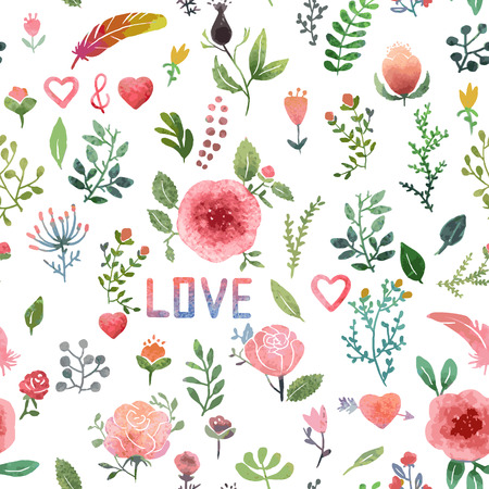 Watercolor hand-drawn nature pattern, isolated. Иллюстрация