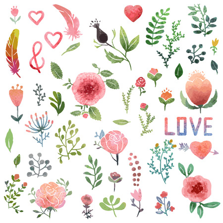 doodle art clipart: Set of cute watercolor hand-drawn nature clip-art, isolated. Wedding, birthday, celebration card elements.