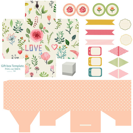 food package: Favor, gift, product box die cut.  Watercolor floral pattern. Empty label. Designer template.