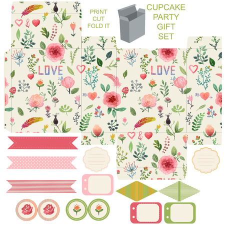 die: Favor, gift, product box die cut.  Watercolor floral pattern. Empty label. Designer template.