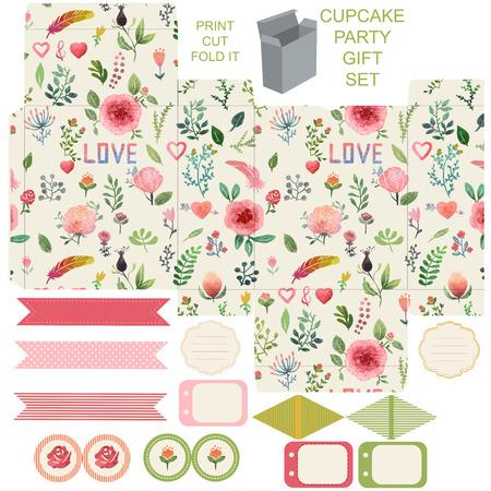 diecut: Favor, gift, product box die cut.  Watercolor floral pattern. Empty label. Designer template.