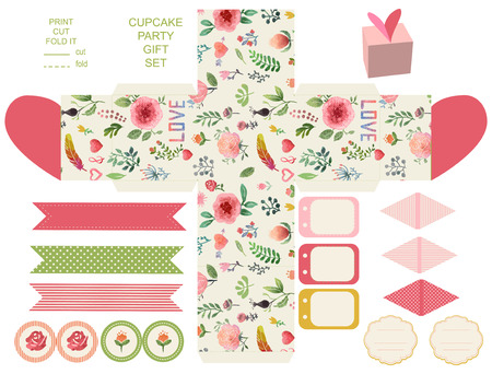 die cut: Favor, gift, product box die cut.  Watercolor floral pattern. Empty label. Designer template.