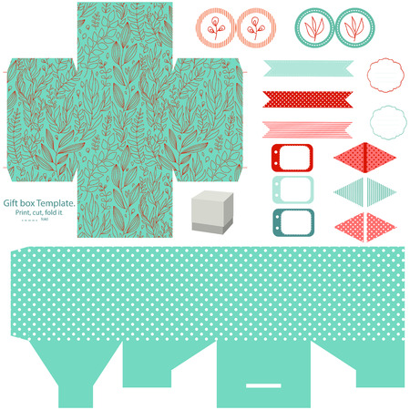 topper: Party set. Gift box template.  Abstract floral nature pattern. Empty labels and cupcake toppers and food tags. Isolated.