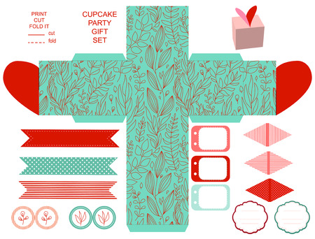 dieline: Party set. Gift box template.  Abstract floral nature pattern. Empty labels and cupcake toppers and food tags. Isolated.
