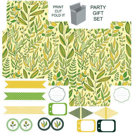 dieline: Party set. Gift box template.  Abstract floral pattern, leaves and branches. Empty labels and cupcake toppers and food tags. Illustration