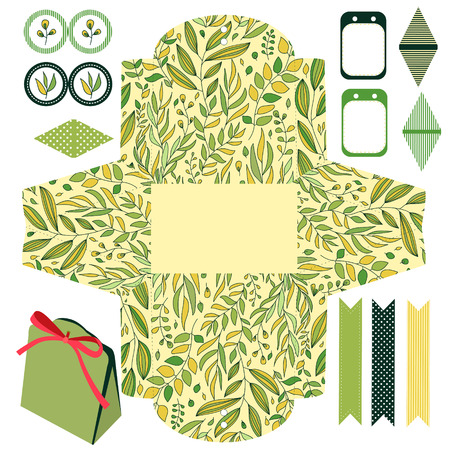 die cut: Party set. Gift box template.  Abstract floral pattern, leaves and branches. Empty labels and cupcake toppers and food tags. Illustration