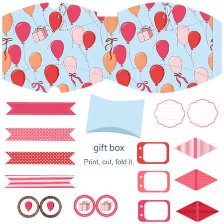Party set Gift box template.