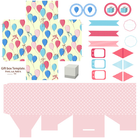 diecut: Party set Gift box template.