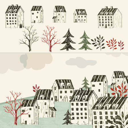 european culture: Collection of hand drawn isolated houses or buildings and village or town illustration Illustration