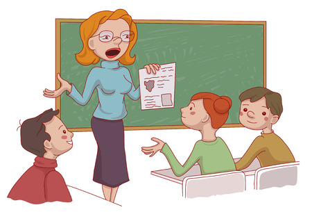 Vector set if the cartoon characters: Kidssitting in the classroom and their teacher explaining the lesson Illustration