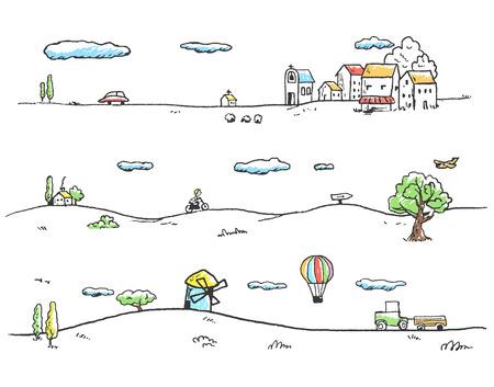 Vector illustratie van het rurale landschap. Doodles hand getekende stijl.
