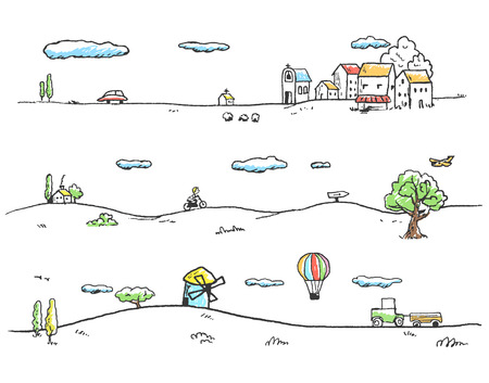 people in church: Vector illustration of rural landscape. Doodles hand-drawn style.