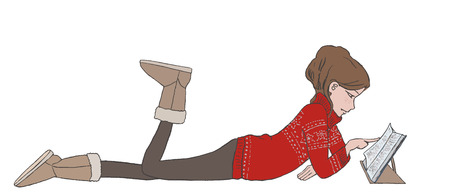 full body woman: Illustration of lying relaxing girl reading a book