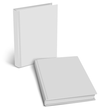 cover up: White empty cover closed book mock up on a white background. Vertical and horisontal view. Vector illustration. Product mockup. Vector EPS10 Illustration