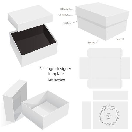 cajas de carton: Blanco Paquete maqueta caja, abierta, cerrada, plantilla, frontal y el diseño lateral. Aislado en el fondo blanco listo para su diseño. Paquete del producto