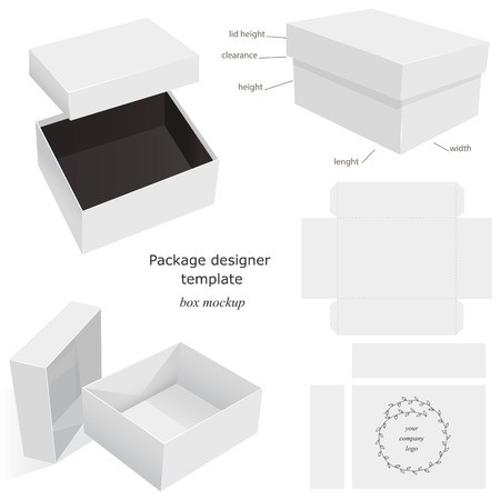 product box: White Package Mockup Box, opened, closed, template, front and side layout. Isolated on White Background Ready For Your Design. Product package  Illustration