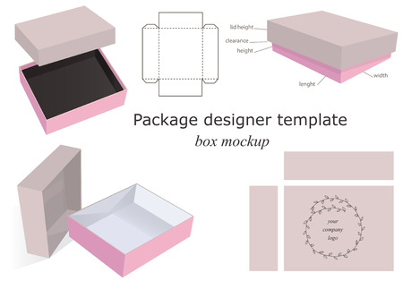 box template: Cardboard and Pink Package Mockup Box opened closed template front and side layout. Isolated on White Background Ready For Your Design. Product package