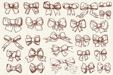 set of hand-drawn cute bow Illustration