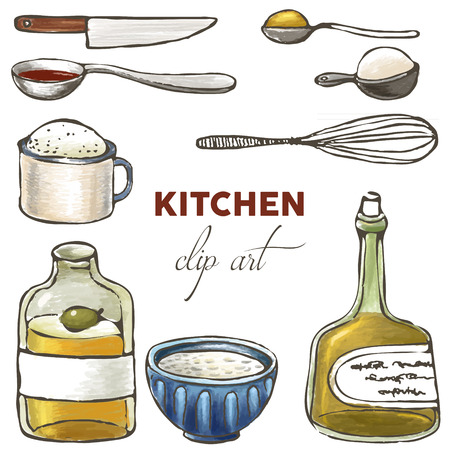 masher: kitchen and cooling clip art: knif, cup, measuring spoon, oil bottle, bowl