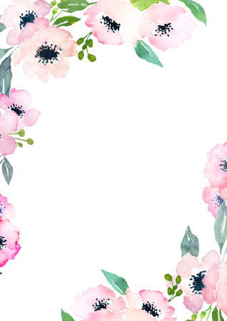other space: Card template with watercolor roses. Blank space for your text. Illustration for greeting cards, invitations, and other printing projects.