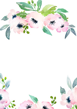 Card-Vorlage mit Aquarell Rosen. Blank Raum für Ihren Text. Illustration für Grußkarten, Einladungen und andere Druckprojekte. Standard-Bild
