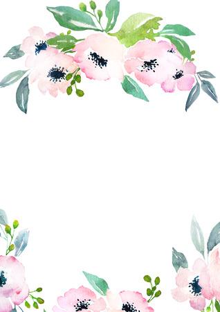 dessin fleur: Mod�le de carte avec des roses d'aquarelle. Espace vierge pour votre texte. Illustration pour les cartes de voeux, invitations, et d'autres projets d'impression. Banque d'images