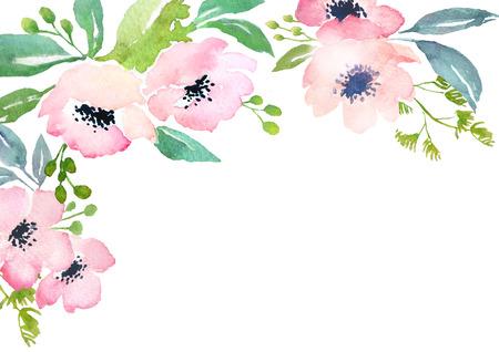 Card-Vorlage mit Aquarell Rosen. Blank Raum für Ihren Text. Illustration für Grußkarten, Einladungen und andere Druckprojekte. Standard-Bild - 40621365