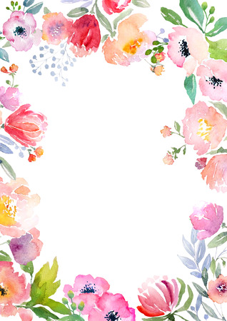 Card template with watercolor roses.  Illustration for greeting cards, invitations, and other printing projects. 写真素材