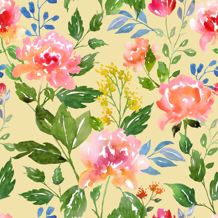 seamless floral pattern: Watercolor floral pattern and seamless background. Ideal for printing onto fabric and paper or scrap booking. Hand painted. Raster illustration. Stock Photo
