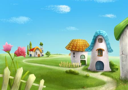 Aldea del país de las maravillas de la historieta surrealista, romántico paisaje de cuento de hadas. Ilustración.