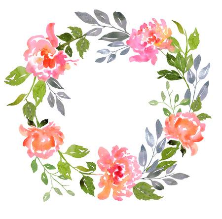 Kaart sjabloon met aquarel pioenrozen. Illustratie voor wenskaarten, uitnodigingen, en andere drukwerk projecten. Stockfoto
