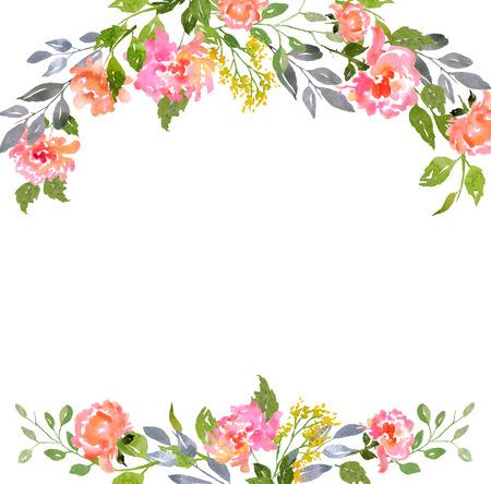 Kaart sjabloon met aquarel pioenrozen. Illustratie voor wenskaarten, uitnodigingen, en andere drukwerk projecten. Stockfoto - 43146718